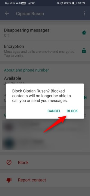 Confirm the blocking