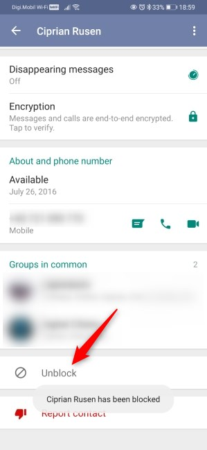 How to unblock someone on WhatsApp for Android from the contact screen