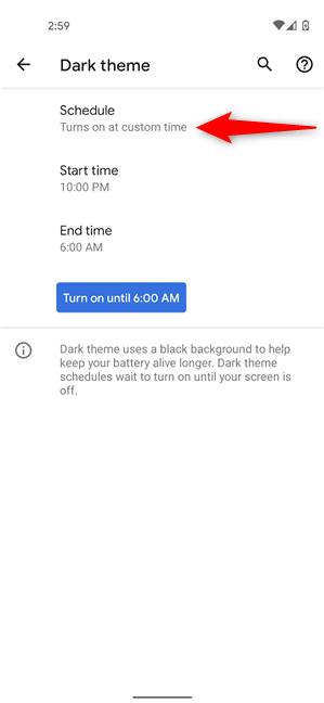 Schedule when the Android Dark theme starts automatically