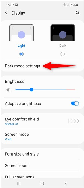 Access the Android Dark mode settings