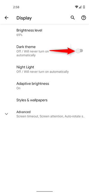 Turn on Dark theme on Android from Settings