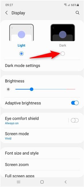 Press to select Dark mode on Samsung Galaxy