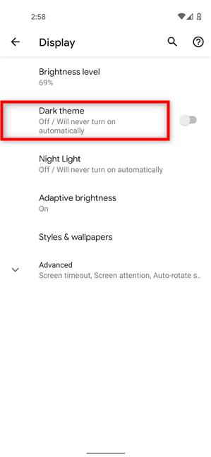 Access the Dark theme settings