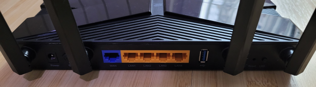 The ports on the back of the TP-Link Archer AX50