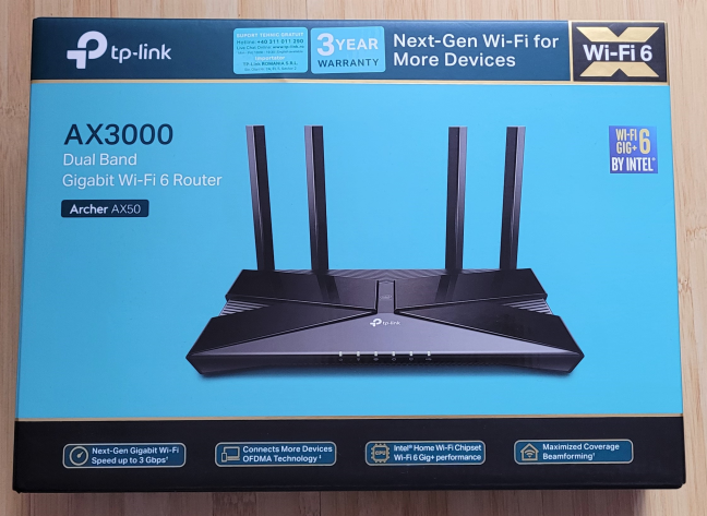 The packaging used for TP-Link Archer AX50