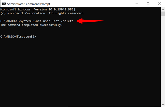 Use CMD to remove an account in Windows 10