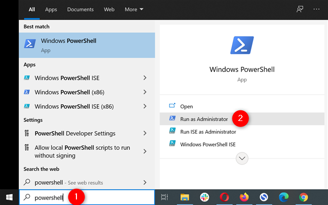 Open an elevated instance of PowerShell in Windows 10