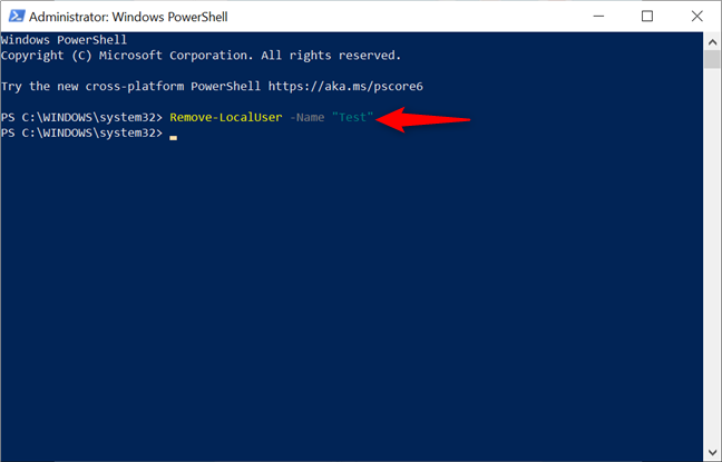 Remove an account in Windows 10 from PowerShell