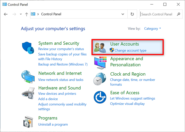 Access User Accounts in the Control Panel