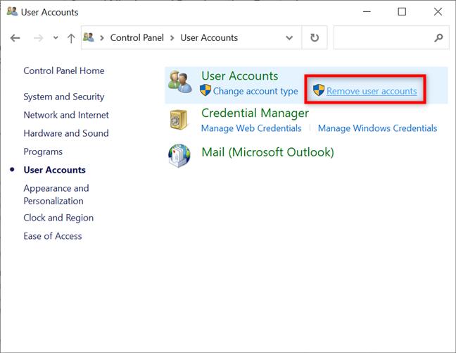 Press on Remove user accounts