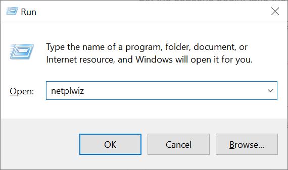 Type netplwiz in the Run windows and press OK