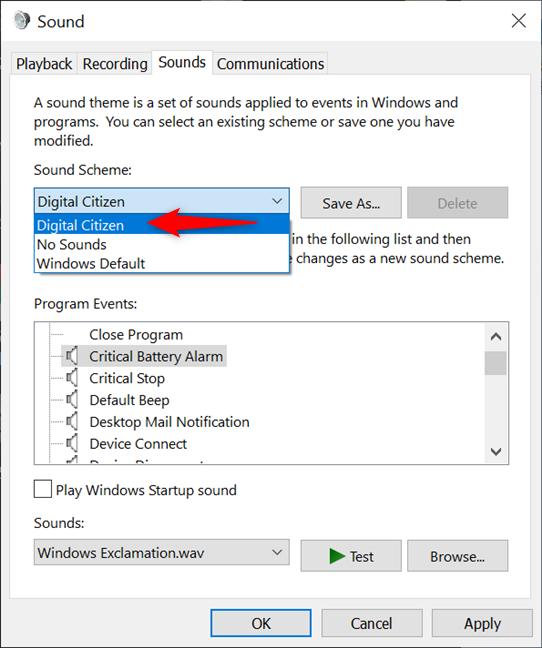 Windows 10 saves your new Sound Scheme