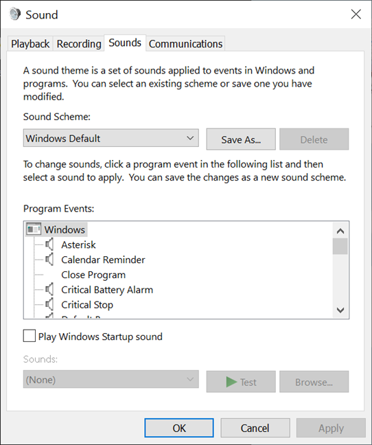 The Sound window from Windows 10