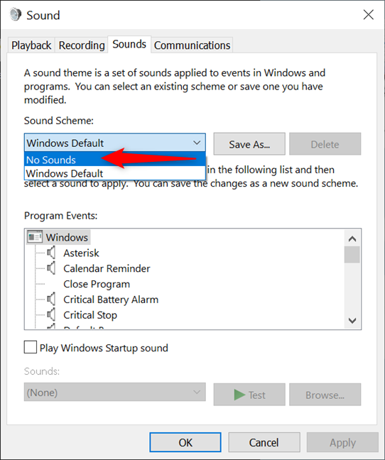 How to turn off system sounds in Windows 10