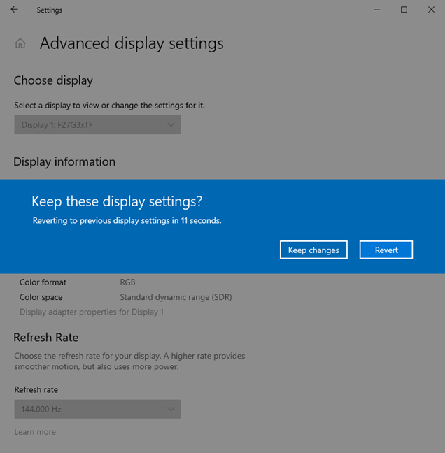 Confirm that you want to keep the new settings