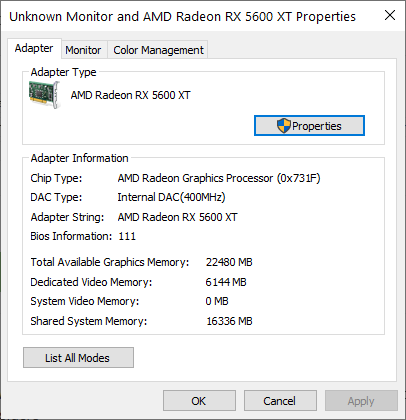 The Properties of your video card