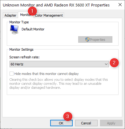 Go to Monitor and set the refresh rate
