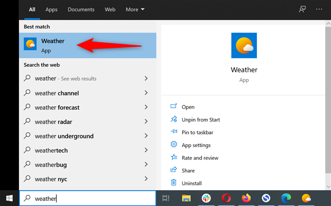 Launch the Windows 10 Weather app by searching for it