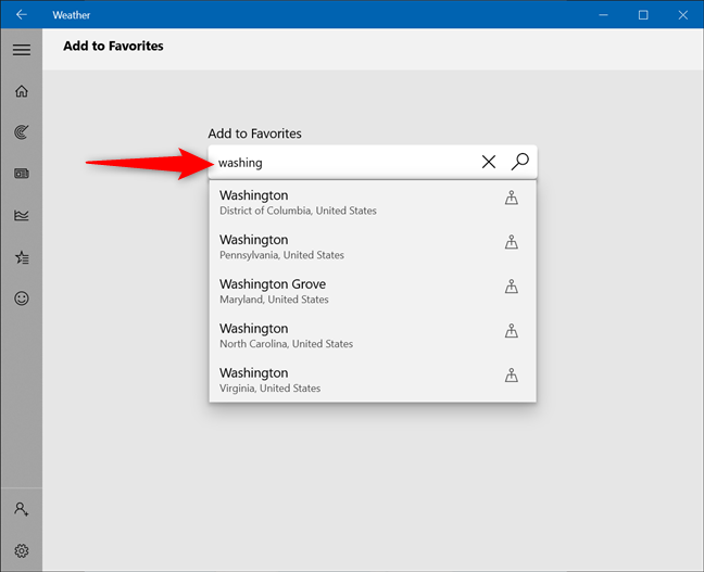 Use the search field to find additional locations