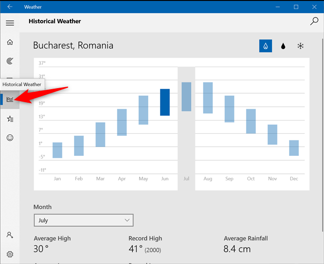 Access the Historical Weather tab