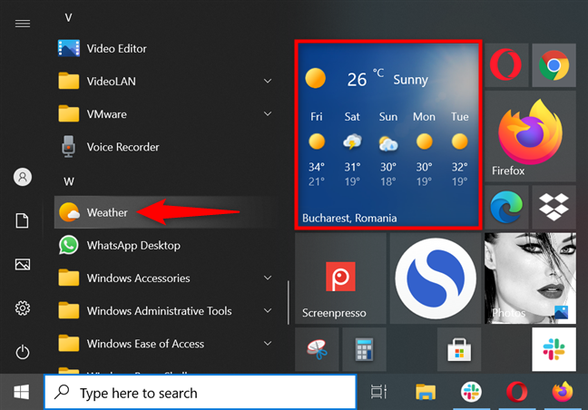 Launch the Windows 10 Weather app from the Start Menu