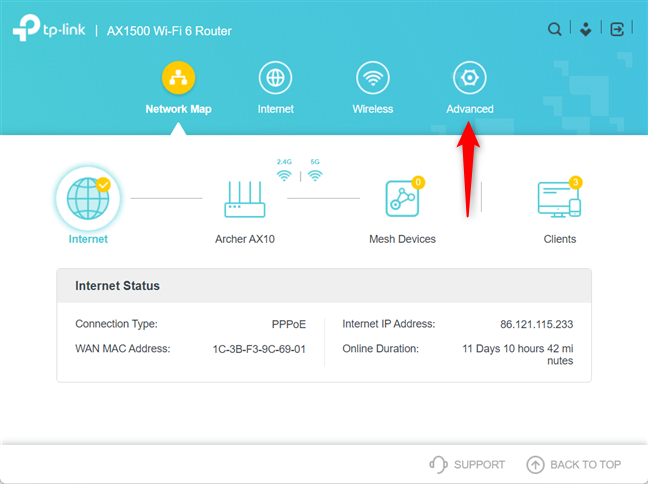 Go to Advanced on your TP-Link router