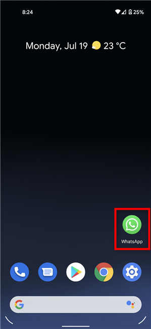 Locate the icon you want to drag and drop on Android