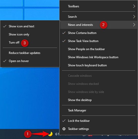 Remove News and interests from the taskbar