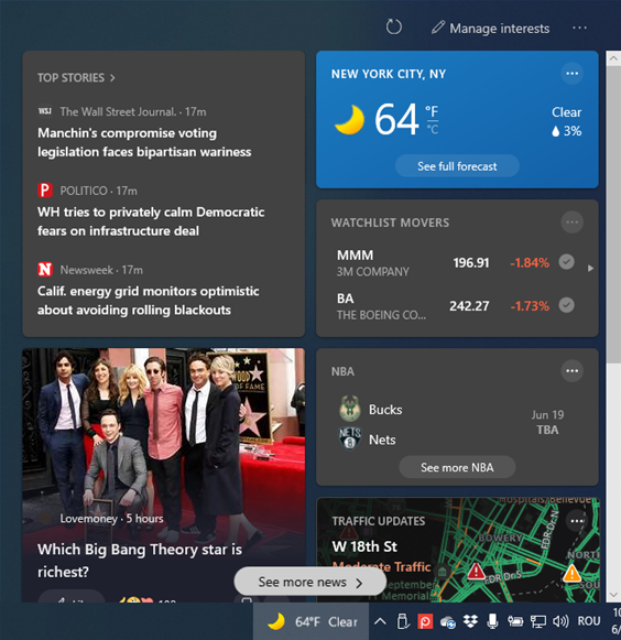 The News and interests widget