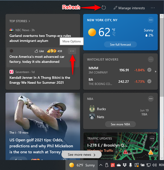 Refresh the News and interests widget