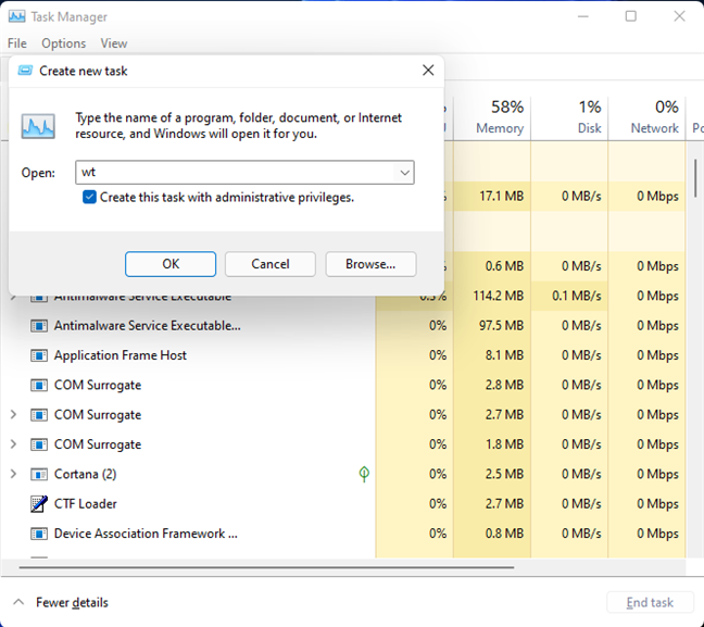 The Windows Terminal can be opened from the Task Manager