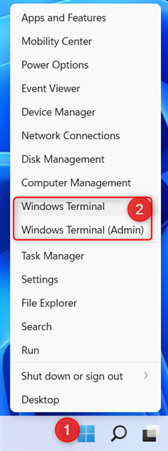 The WinX menu can be used to open the Windows Terminal