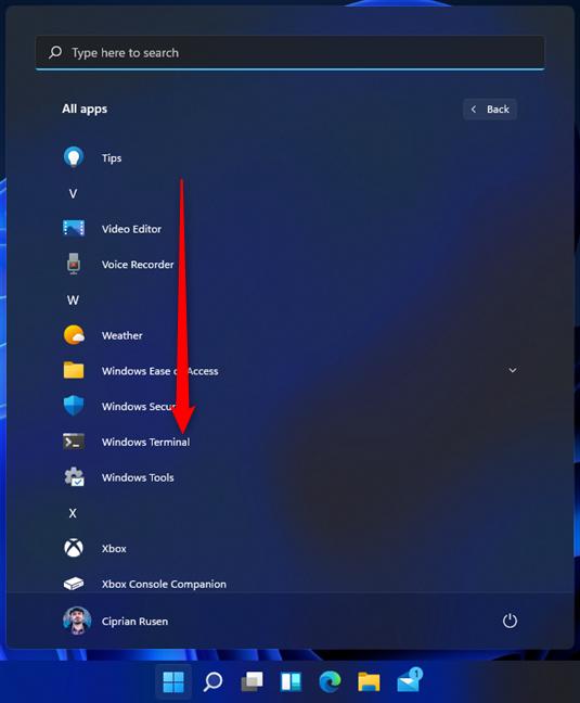 Scroll down to the Windows Terminal shortcut