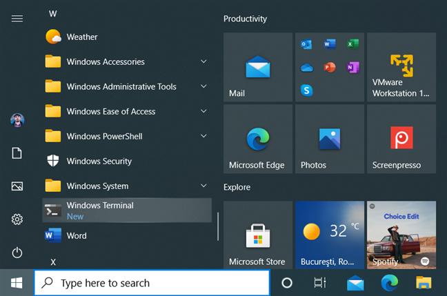 The Windows Terminal shortcut in the Windows 10 Start Menu