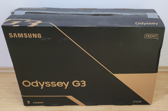 """The packaging used for Samsung 27"""" G35TF Odyssey"""