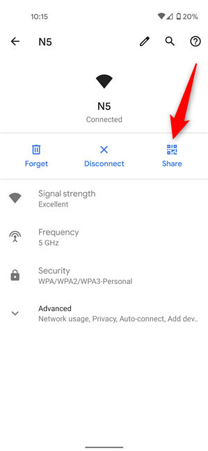 Press Share to see the Wi-Fi password on Android