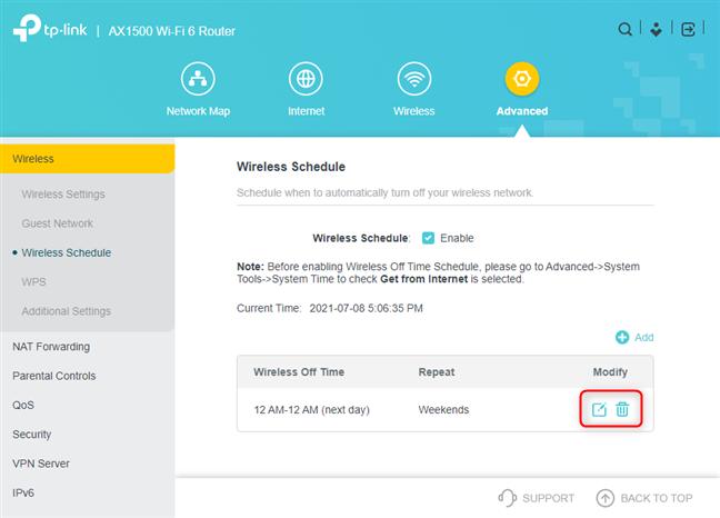 Modify or delete the wireless schedule