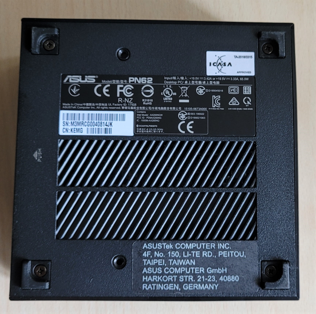 The bottom side of ASUS Mini PC PN62