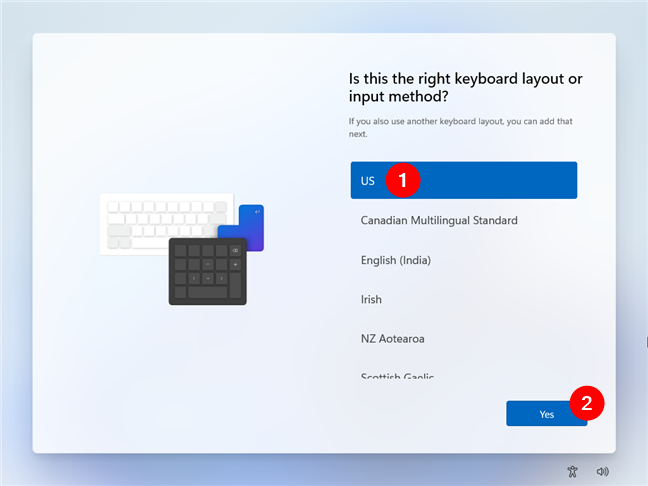 Choose the keyboard layout you want to use