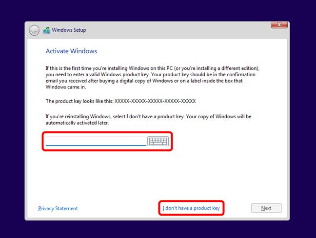 Enter the Windows 11 activation key