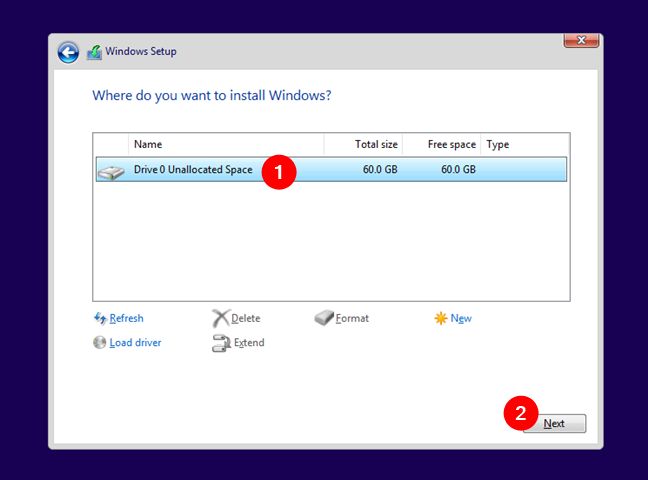 Choose the partition where to install Windows 11