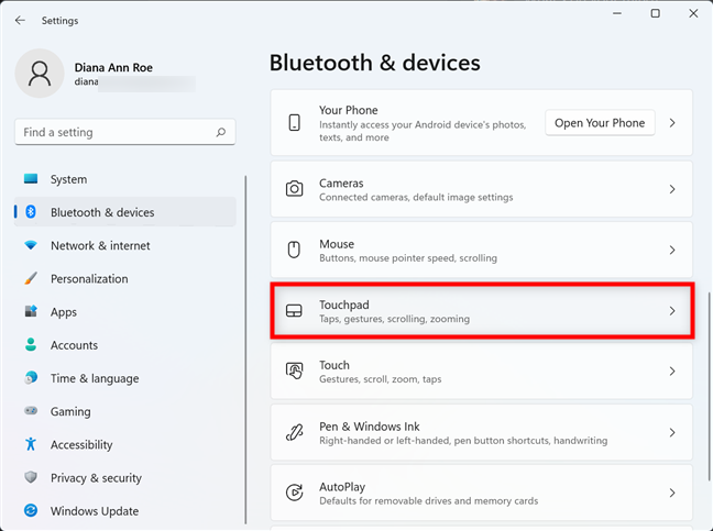 Access the Touchpad settings in Windows 11