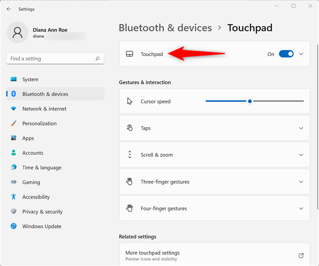 Access the Touchpad section