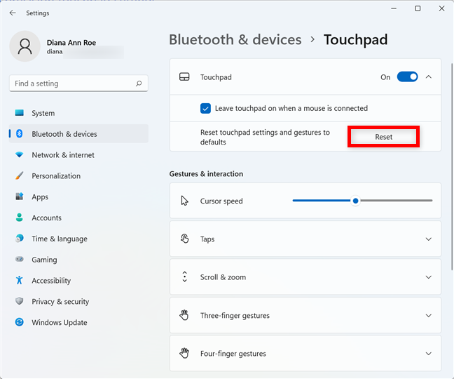 Reset the touchpad settings in Windows 11