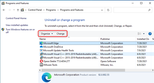 There is no Uninstall button in Control Panel either