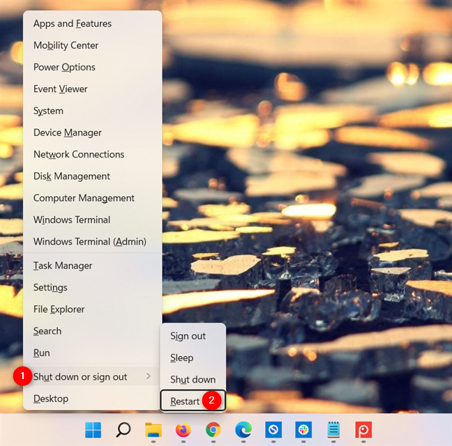 How to restart Windows 11 from the WinX menu