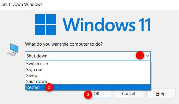 How to restart Windows 11 from the Shut Down Windows pop-up