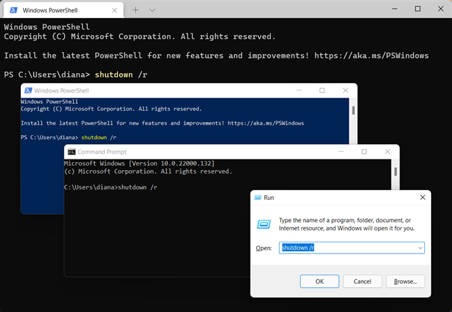 Use the Windows restart command in the app you prefer