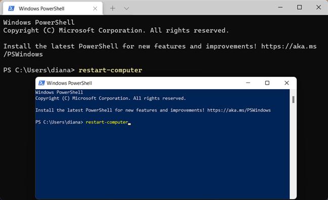 Restart Windows 11 using PowerShell and Windows Terminal