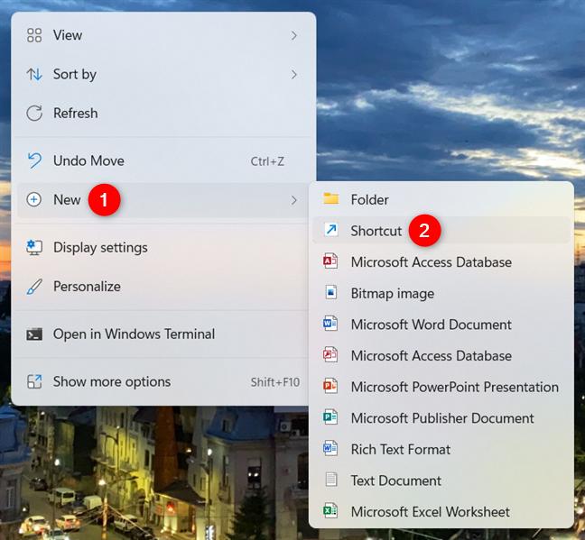 Start creating a shortcut on the Windows 11 desktop